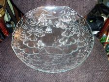 "VERY LARGE SHALLOW THICK GLASS DISH RAISED CHRISTMAS TREES & COTTAGE 14.5"" DIA"